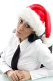 Woman wearing christmas hat Royalty Free Stock Photo