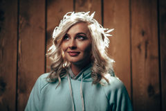 Woman wearing christmas lights on head Royalty Free Stock Photo