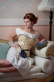 Woman Wearing Civil War Era Undergarments Stock Photography