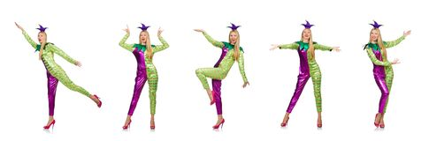 The woman wearing clown costume isolated on white. Woman wearing clown costume isolated on white stock photos