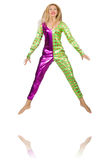 Woman wearing clown costume isolated Stock Photography