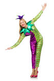 Woman wearing clown costume isolated Stock Images