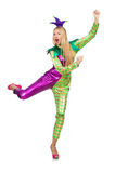 Woman wearing clown costume isolated Stock Photo