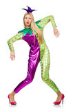 Woman wearing clown costume isolated Royalty Free Stock Photography
