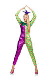 Woman wearing clown costume isolated Royalty Free Stock Images