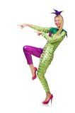 Woman wearing clown costume isolated on the white Royalty Free Stock Photos
