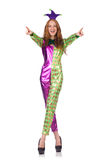 Woman wearing clown costume isolated on white Stock Photography