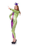 Woman wearing clown costume isolated on white Stock Images