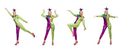 The woman wearing clown costume isolated on white. Woman wearing clown costume isolated on white royalty free stock image