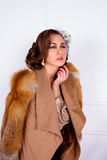 Woman wearing coat with fur Stock Images