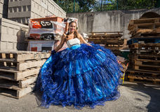 Woman wearing in colorful costume at Madeira Wine Festival in Estreito de Camara de Lobos, Madeira, Portugal. Royalty Free Stock Image