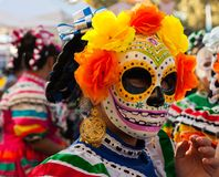 Woman wearing colorful skull mask and paper flowers for Dia de Los Muertos/Day of the Dead. Young woman wearing colorful skull mask and paper flowers for Dia de stock photo