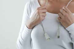 Woman Wearing Computer Cable As Necklace Stock Photo
