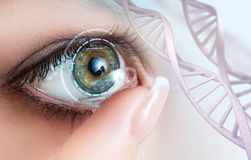 Woman wearing contact lens among DNA stems. Woman with green eye wearing contact lens among DNA stems stock images