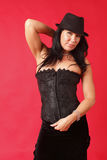 Woman wearing a corset Stock Photo