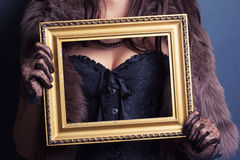 Woman wearing corset Royalty Free Stock Image