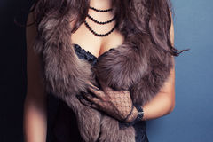 Woman wearing corset Royalty Free Stock Image