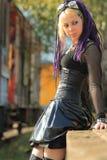 Woman wearing corset on trainplatform royalty free stock photos