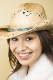 Woman wearing cowboy hat. Stock Photo