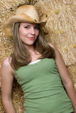 Woman Wearing Cowboy Hat Stock Photo