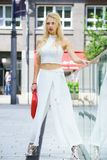 Woman wearing crop top and culottes Stock Photo
