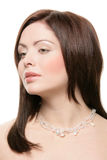 Woman wearing crystal necklace Royalty Free Stock Image