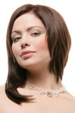 Woman wearing crystal necklace Royalty Free Stock Photos