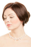 Woman wearing crystal necklace Stock Image