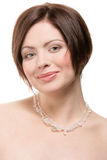 Woman wearing crystal necklace Stock Photos