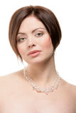 Woman wearing crystal necklace Royalty Free Stock Images