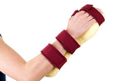 Woman Wearing Cushioned Brace on Hand and Wrist Royalty Free Stock Image