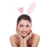 Woman wearing cute bunny ears Royalty Free Stock Images