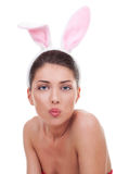 Woman wearing cute bunny ears Stock Photography
