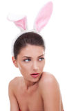 Woman wearing cute bunny ears Stock Photos