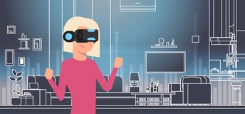 Woman Wearing 3d Glasses In Vr Room Interior Virtual Reality Technology Concept. Flat Vector Illustration Stock Photo