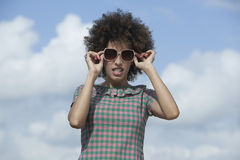 Woman wearing dark sunglasses Royalty Free Stock Image