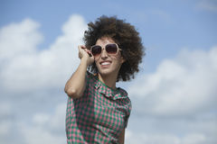 Woman wearing dark sunglasses Royalty Free Stock Photos