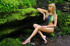Woman wearing designers swimsuit posing in the wild nature of the forest Stock Photography