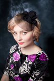 Woman wearing  dress and felt adornment Stock Photo