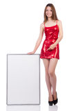 Woman wearing dress isolated on white Stock Photography