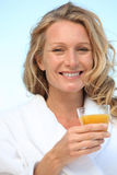 A woman wearing a dressing gown Royalty Free Stock Photo