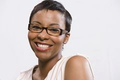 Woman Wearing Eye Glasses Over White Background Royalty Free Stock Photography