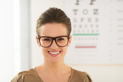 Woman wearing eyeglasses in front of Snellen chart Royalty Free Stock Photo