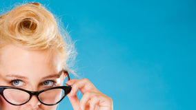 Woman wearing eyeglasses. Stock Photos