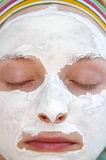 Woman wearing a face mask stock image