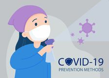 Woman wearing a face mask, sanitizing with alcohol spray. Covid -19 prevention.