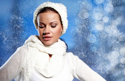 Woman wearing fashion winter clothin Royalty Free Stock Photo