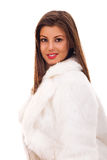Woman wearing fashionable fur coat Stock Photos