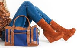Woman wearing fashionable platform brown shoes Stock Image