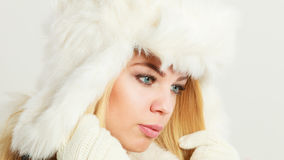 Woman wearing fashionable wintertime clothes Royalty Free Stock Image